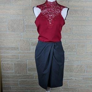 Body by Victoria Skirt Asymmetrical Pleated Grey